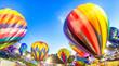 Bright Hot Air Balloons Glowing at Night - 71923532