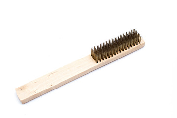 Metal-wire brush, with a wooden handle for rust removal.