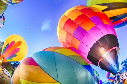 Bright Hot Air Balloons Glowing at Night - 71923551