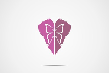 love Butterfly beauty Logo Design vector