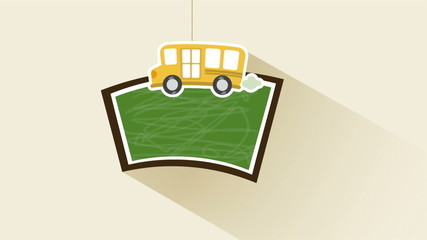 chalkboard and bus Animation Design, HD 1080