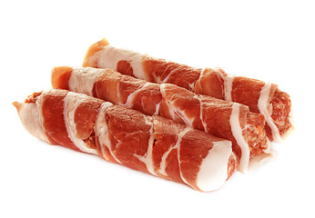 sausages wrapped in bacon, chevapchichi isolated