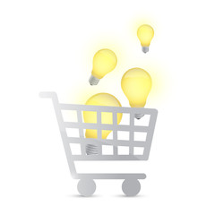 shopping cart and light bulbs