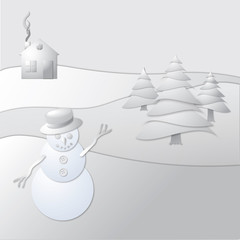 Snowman and Cabin collage white
