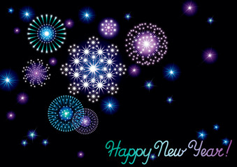 Happy New Year! Vector background of fireworks