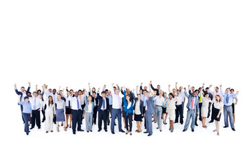 Mullti-ethnic group of business person hands up
