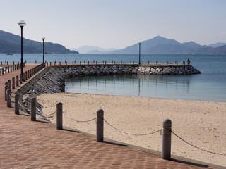 Stone pier in a beach park