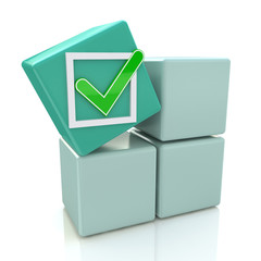 3d green cube with check sign on grey boxes