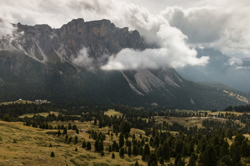 cloud inversion above Val Gardena in South Tyrol
