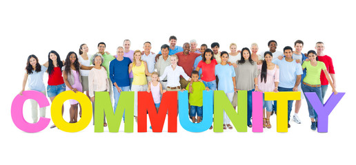 Group of People Holding Word Community