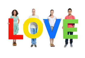 Group of People Holding Word love