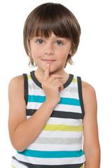 Curious little boy in a striped shirt
