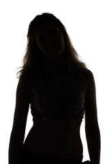 Silhouette of slim woman