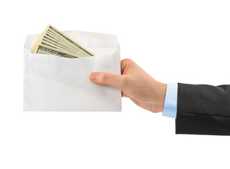 Hand and money in envelope