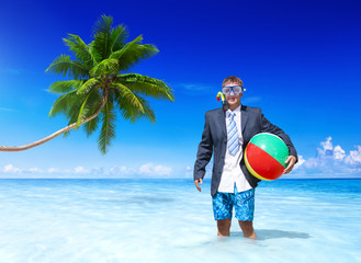 Funny Businessman Relaxing on Vacation