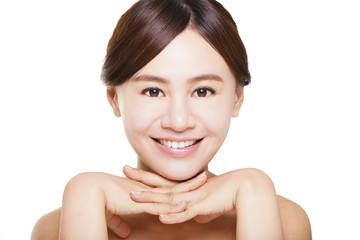 Close up of asian young woman's face with happy smile