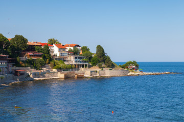 Coastal view of ancient town Nesebar, Bulgaria, Black Sea coast