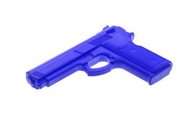 Blue training gun isolated on white