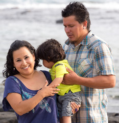 Mexican family at the beach