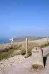 Milestone on Dorset coastal path above Durdle Door