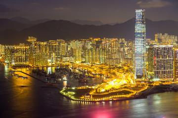 Aerial Hong Kong night