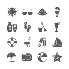 summer beach icon set, vector eps10