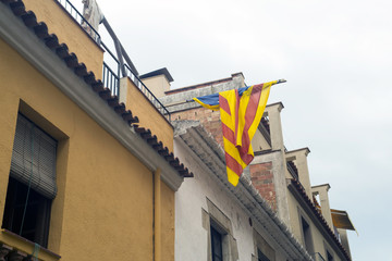Banner of Catalonia on a house wall