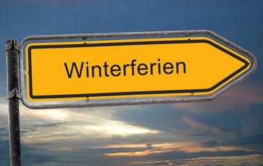 Strassenschild 19 - Winterferien