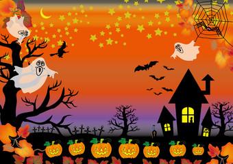 ハロウィンの夜のお化け屋敷のゴーストとカボチャ