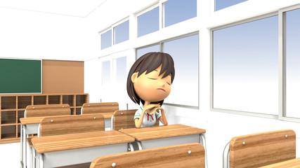 教室で不機嫌な女子生徒の3Dイラスト