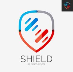 Minimal line design logo, shield icon