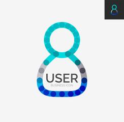 Minimal line design logo, user icon
