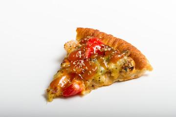 Slice of Tasty Italian pizza on white background