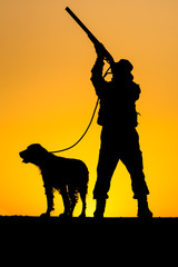 Silhouette of the hunter with a dog
