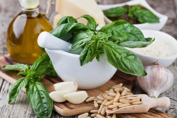 Ingredients for making pesto