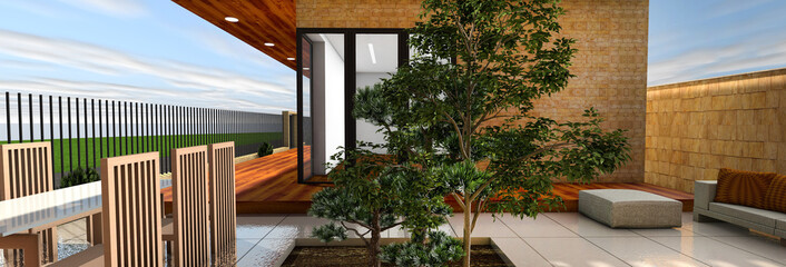 3D rendering of modern house  terrace