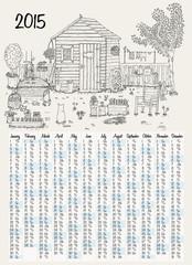 2015 calendar with garden illustration