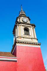 Red Colonial Church in Santiago