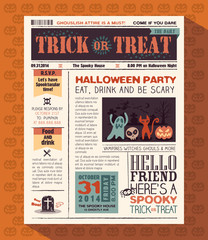 Happy Halloween Party design layout in newspaper style
