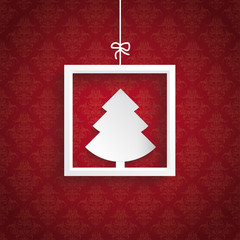 Red Background Ornaments Quadrate Frame Christmas Tree