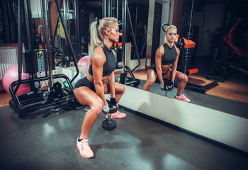 beautiful woman working out with a dumbbells in a gym