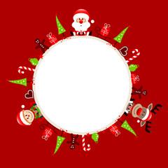Round Frame Santa, Rudolph & Elf Symbols Red