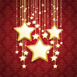 3 Big Golden Christmas Stars Red Ornaments