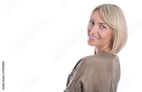 canvas print picture Beautiful isolated blond mature woman over white background.