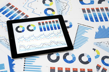 Business charts and diagrams on digital tablet.