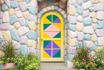 entrance door and stone colorful, fasad