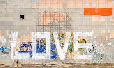 Word Love On a Tiled Wall