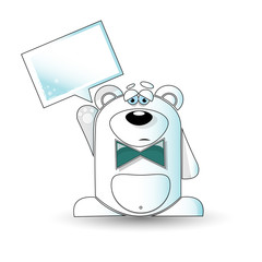 Cartoon illustration of a sad white bear with a white sign.