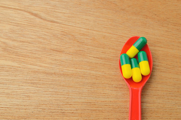 medicine capsule pill on spoon