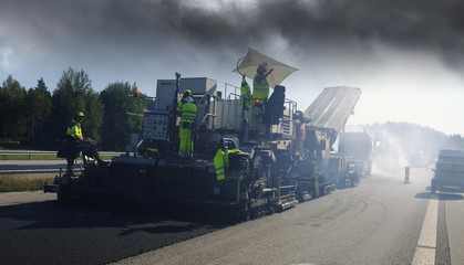 paving machine, tarmack and asphalt works